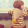 2016 детская Clothing Мальчики Девочки Полосатый Балахон Хлопка Мультфильм Зима Дети Пальто Куртки Мальчики Толстовки и Кофты 2-7 Т