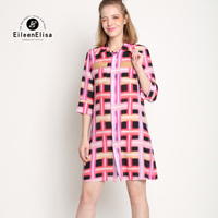 Plaid Women Dress T Shirt Dresses 2017 Women Colorful Women Dress