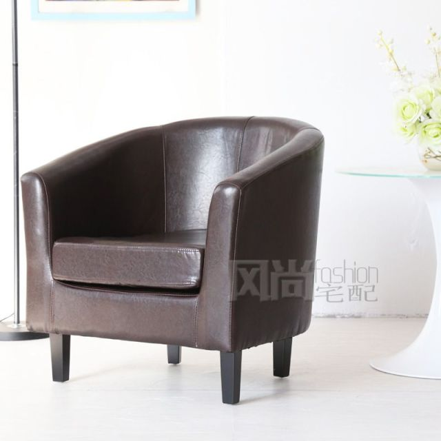 Fashion Simple U Shaped Leather Small Sofa Apartment Ikea Single Fabric Office