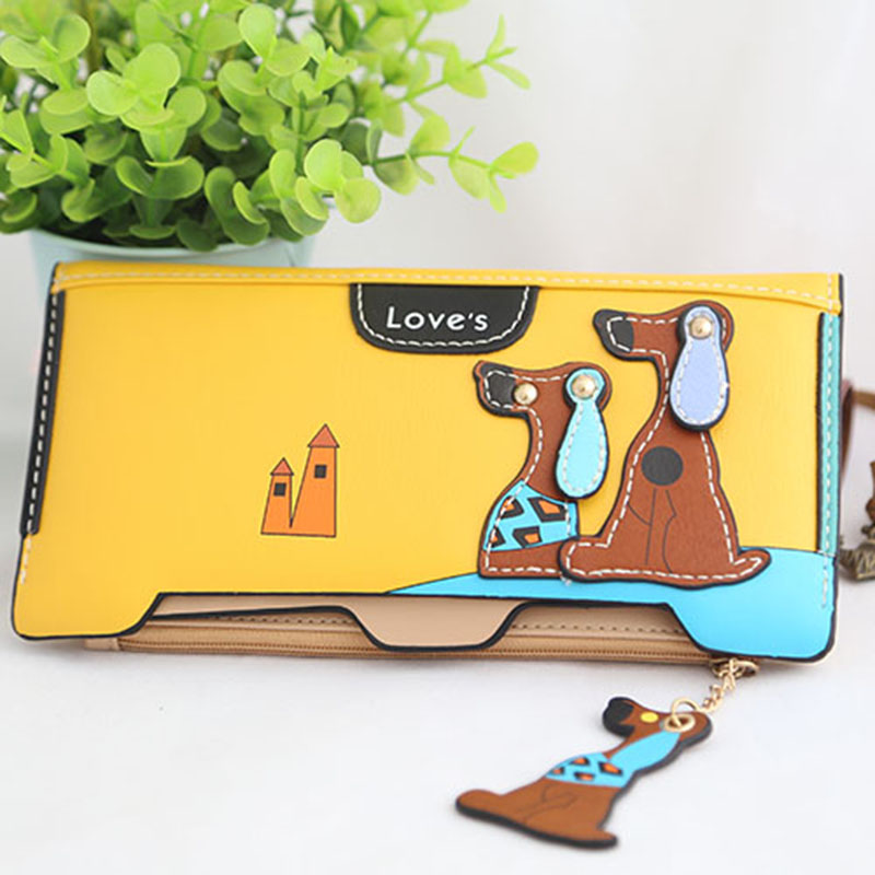 Purse Women Wallet Women's Zipper Long Wallet Clutch Cute Puppy Coin Purse Designer Multi-card bit Large Capacity Two Fold Purse fashion colorful lady lovely coin purse solid golden umbrella clutch wallet large capacity zipper women small bag cute card hold