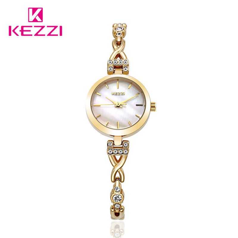 2016 Luxury Brand Women Lady Watch Fashion Diamond Gold Bracelet Wristwatch Analog Display Quartz Watch kw1497