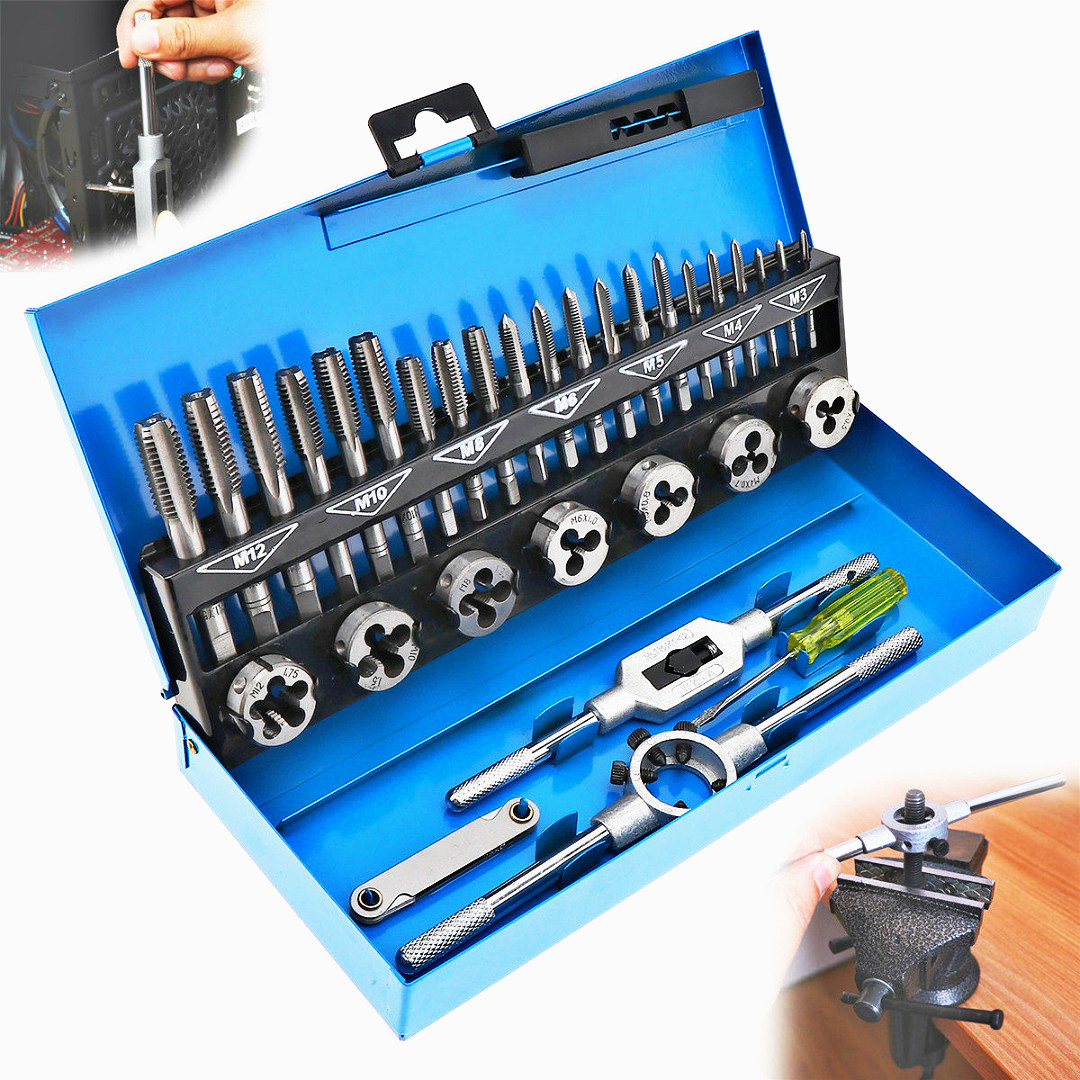 все цены на FGHGF 2018 New Processing 32Pcs M3-M12 Metric Tap and Die Set Mechanic Die Tap Wrench Screw Pitch Gauge