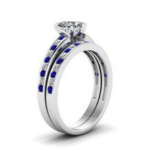 Huitan Fashion Heart Finger Ring With Clear Crystal Stone Bridal Sets Creative Blue&White Spot Couple Band Hot Selling