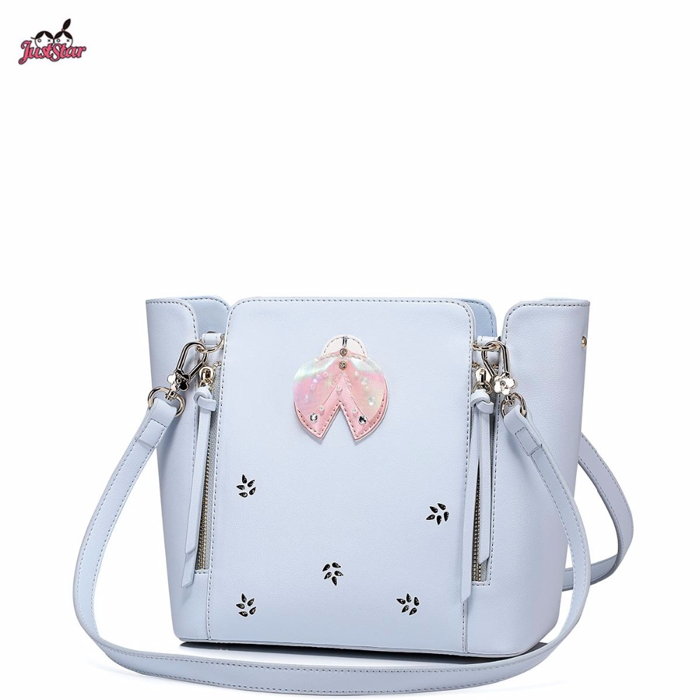 2017 Spring New Just Star Brand Design Fashion Insects Collage Hollow Women PU Leather Girls Ladies Handbag Shoulder Tote Bags just star brand new design fashion flowers pu leather women s handbag ladies girls shoulder cross body drawstring bucket bag