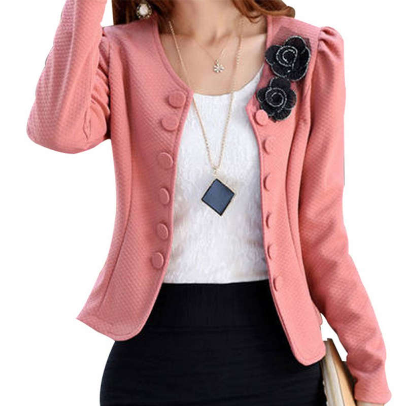 Fashion Blazer Outwear Office-Coat Flower Women Suits Spring Long-Sleeved Autumn Casual