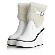 2019 Women Sneaker Shoes Genuine Leather Wedges Platform High Heel Snow Boots Round Toe Winter Warm Hi-Top Creepers Casual Shoes ldhzxc 2018 new fahion women knee square high heel snow boots slip on wedges heel round toe women shoes winter women snow boots