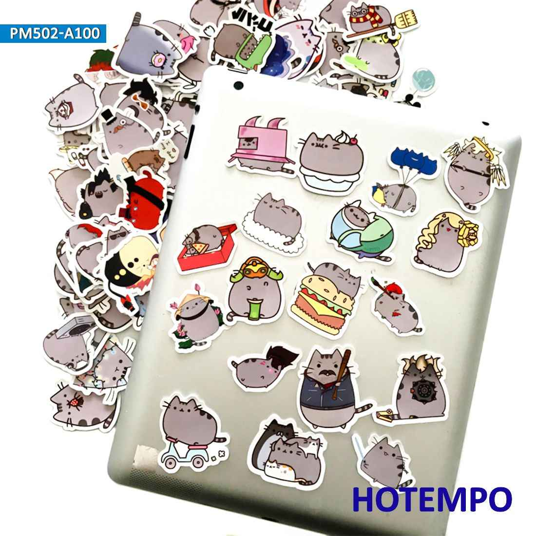 100pcs cartoon fat cat emoji cute stickers for kids diy mobile phone laptop luggage guitar case