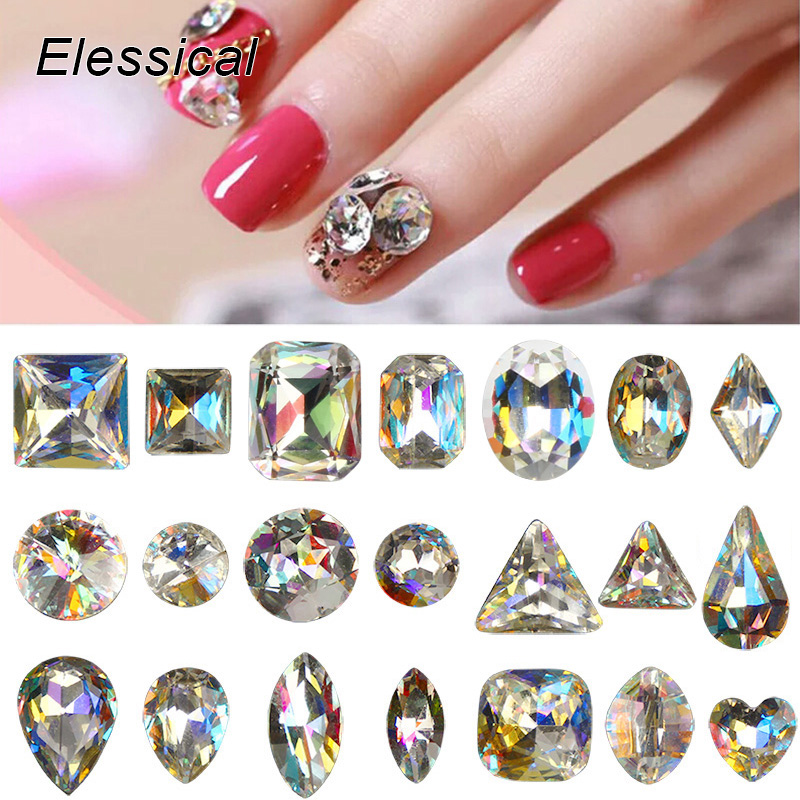 ELESSICAL 10PCS Holographic Geometric Shape Nail Art Decoration Glass Crystal Rhinestones For Nail Charms Stickers Manicure Tool nail clipper cuticle nipper cutter stainless steel pedicure manicure scissor nail tool for trim dead skin cuticle