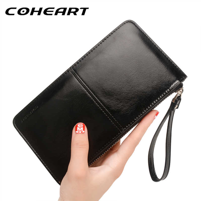 36ab3bc2042 COHEART Brand Fashion Women Wallet Oil Wax Leather Candy Colour Wallet Card  Cash Cellpone Coin Pocket