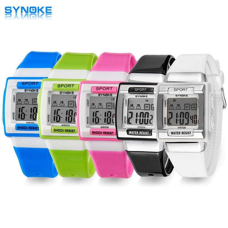 SYNOKE Kids Elektronisk Armbåndsur Digital Montre Enfant Støtdempende Vanntett Barneklokker For Gutter Jenter Kid Shock Clock