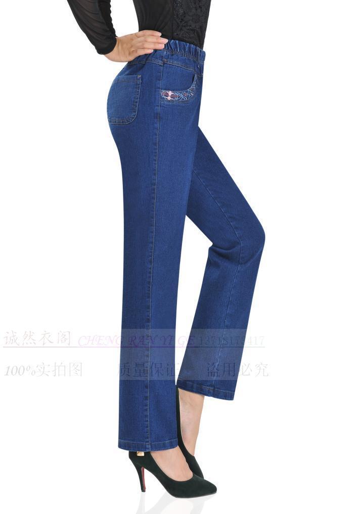 2019 Autumn winter women's elastic waist jeans high waist women clothing lager Size casual denim trousers jeans pants women