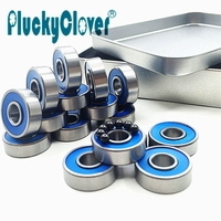 16pcs 608 2RS Abec9 Blue Seal Longboard Skates Bearings Si3N4 Black Balls Hybrid Ceramic Bearings Scooter