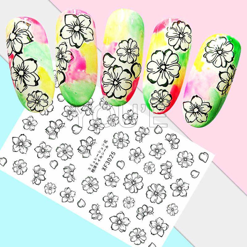 DIY Ungu Bunga Stiker Nail Art Dekorasi Kembali Lem Perekat Stiker 3D Stiker Kuku Manikur Desain Aksesoris