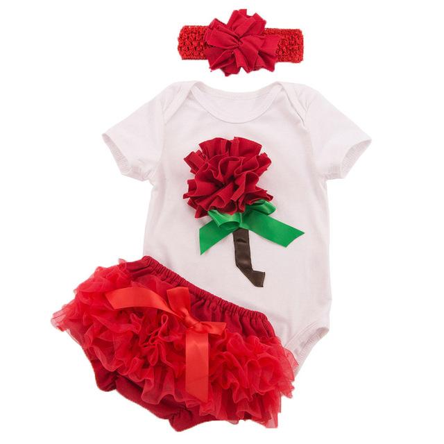 Baby Girl Roupas de Verão Recém-nascidos Meninas Roupas Define Algodão Curto Bodysuit Vermelho Dia Dos Namorados Flor Rosa Vestido Infantil De Menina
