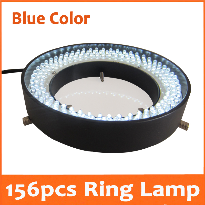 Blue Light- 156pcs 8W LED Adjustable Zoom Lamp Medical Stereo Biological Microscope Ring Lamp 90V-264V with 81mm Inner Diameter fyscope red color light 60pcs led adjustable zoom microscope ring lamp with adapter 220v for biological stereo microscopes