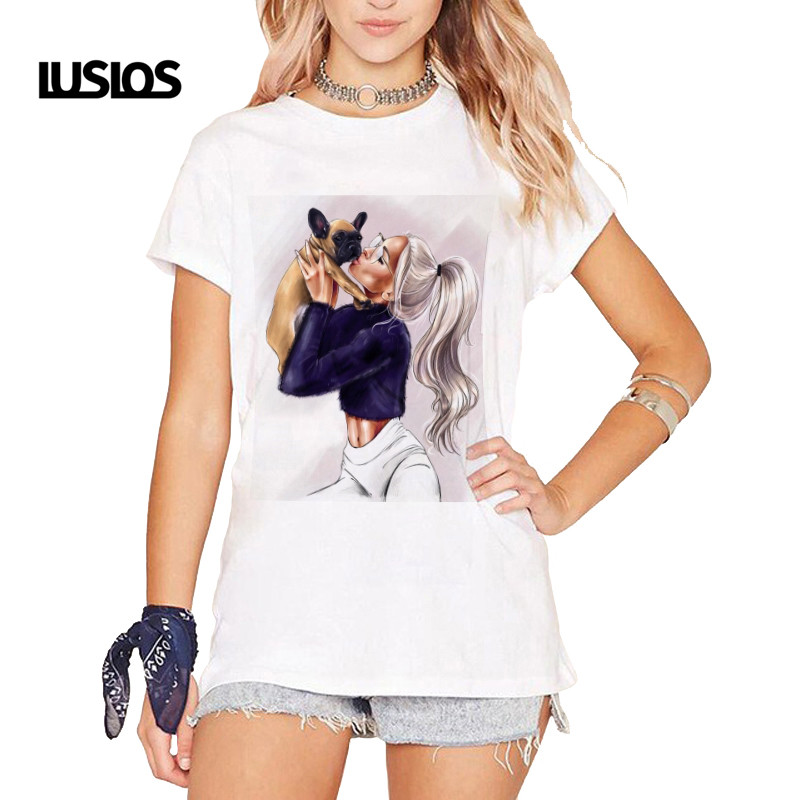 LUSLOS 2019 Moden Girl Dog Lover Female T-shirt Summer Women Korean Fashion Clothing Streetwear Women Vogue T-shirts