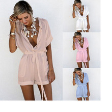 Summer Women Chiffon Rompers Turndown Collar Sexy V neck Single Breasted Short Sleeved Bandage Bodysuits Combishort