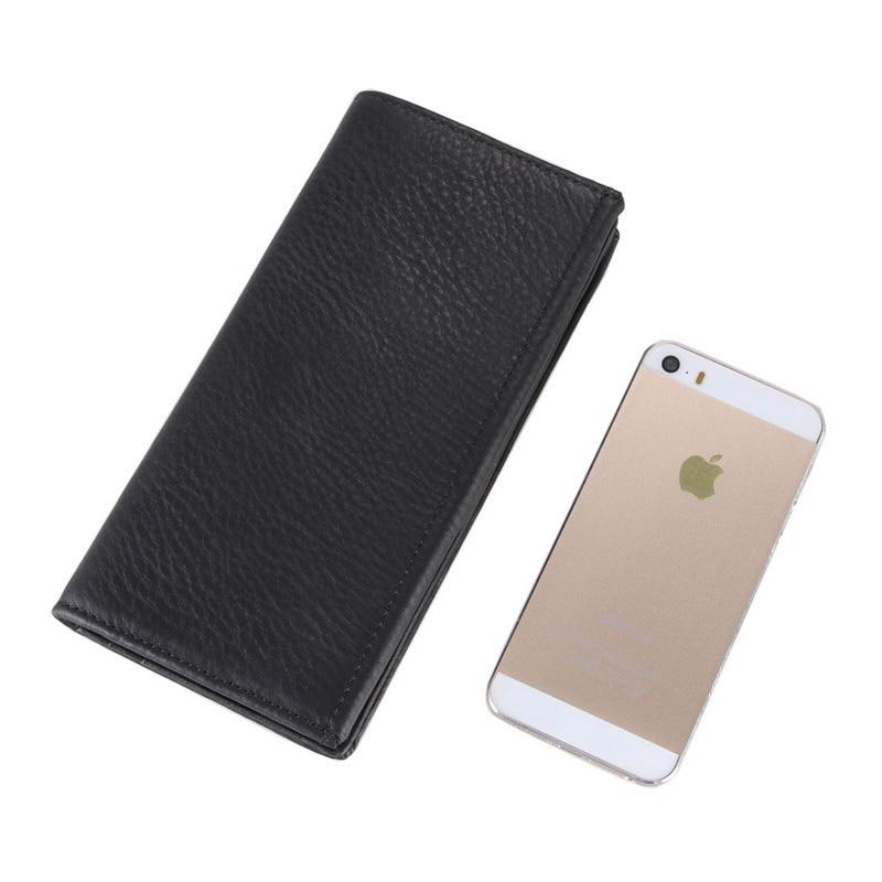 цена на Vintage Cowhide Leather Card Wallet High Large Capacity Genuine Leather Man Black Wallet