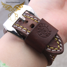 22mm 24mm Men New High Quality Coffee Genuine Leather Watch Band Strap With Polished Pin Buckle