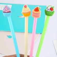 48pcs/lot Cute Cartoon Cake Fruit Gel Pen Sign Pen Office School Stationery Promotion Gift Prize Pen Wholesale Stationery