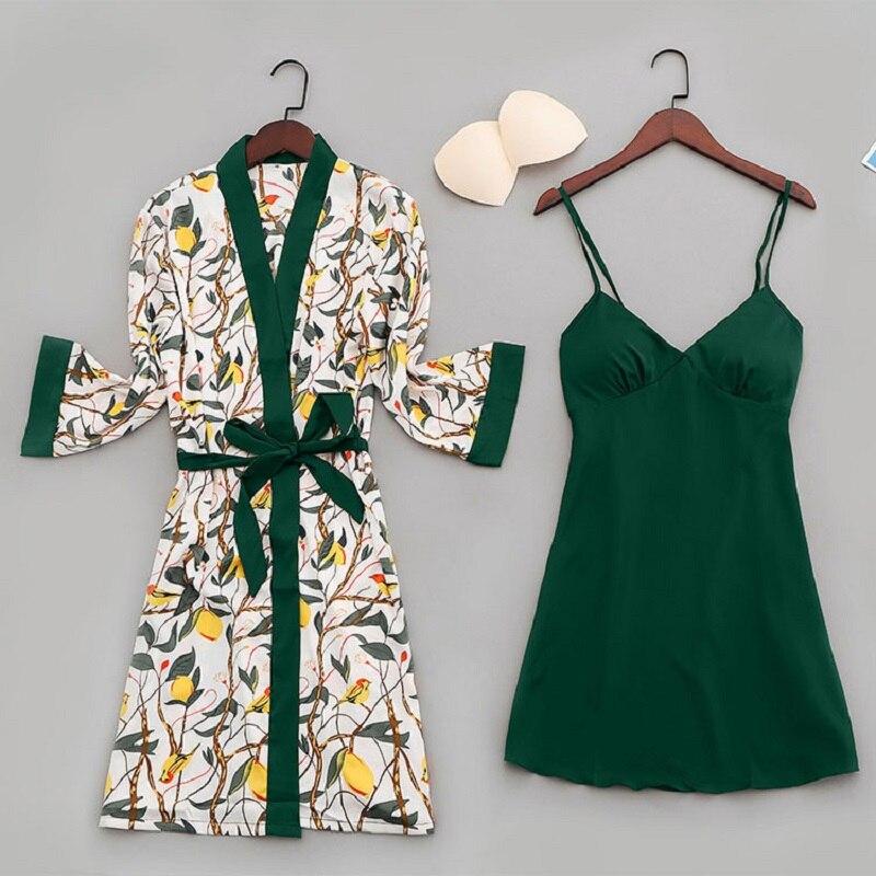 Sexy Women Pajamas Lace Slik Sleep Lounge Nightgown Satin Sleepwear Pyjamas Femme with Chest Pads Indoor Clothing Kimono Robes 21