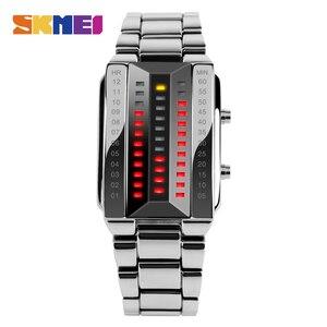 Image 2 - SKMEI LED модные мужские часы Элитный бренд из нержавеющей стали спортивные цифровые наручные часы 50 м Водонепроницаемость Relogio masculino 1013