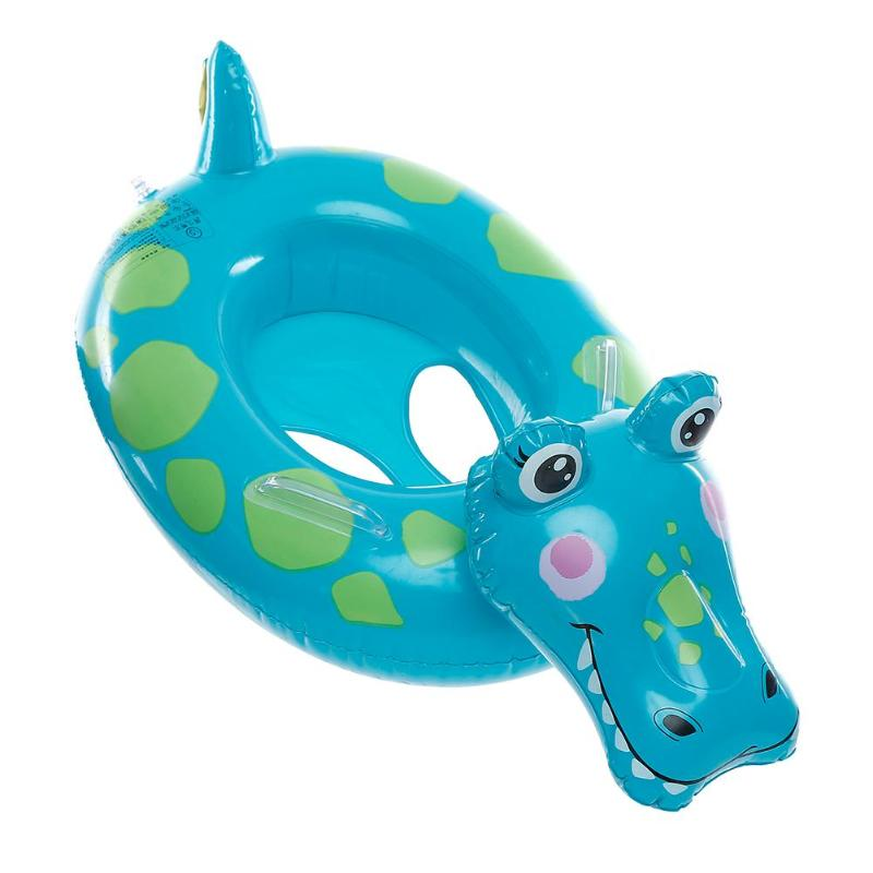 Cartoon Baby Inflatable Crocodile Shape Swimming Ring Thicken Float Seat for Swimming Pool Floats Accessories