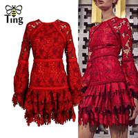 Tingfly High Quality Runway Designer Red Ruffles Lace Dress Women Vintage Mini Party Dresses Celebrity Fashion Vestidos Brand
