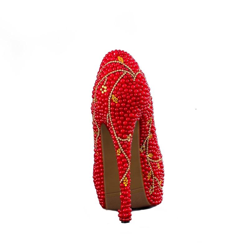 Heels Red Pierre 14cm Robe Rouge 11cm Or Haute Chaussures Pompes Printemps Avec Talons Prom 8cm Conception De Heels red Mariée Été Mariage Luxueux Party Perle vq7USC