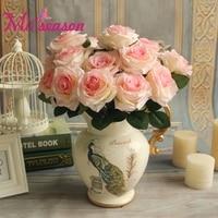 Miiseason 9หัว/ช่อดอกกุหลาบประดิษฐ์ดอกโบตั๋นจำลองดอกไม้ผ้าไหมกุหลาบตกแต่งตกแต่งบ้านจัดงานแต่ง...