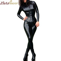 Women Latex Bodysuit W/Croset Black Fetish Rubber Catsuits Slim Jumpsuit Sexy Hot Bodystocking LD172
