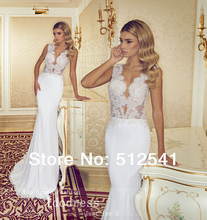 Eye-catching Pearls Wedding Dresses Mermaid Trumpet V Neck Applique Beads Sheer Chiffon Bridal Gown yk8R869