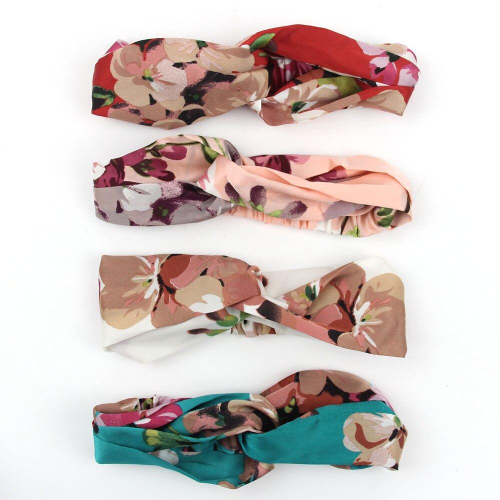 Аксессуары для волос повязки для женщин лента для новорожденных повязки на голову для девочки с цветочным рисунком Шелковый, с принтом ткань эластичная резинка для волос тюрбан с узлом