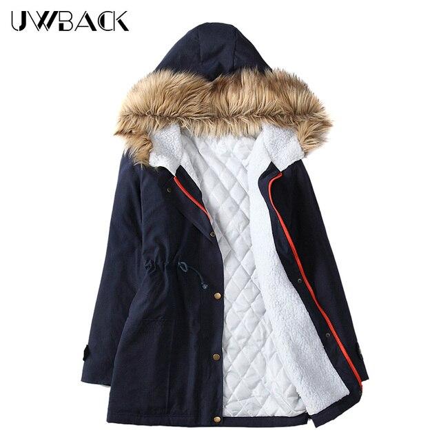 Uwback 2017 nova marca mulheres jaqueta de inverno grande de pele com capuz Casaco de Inverno Casaco Parkas Mulheres Plus Size Outwear Casaco Mujer CBB259