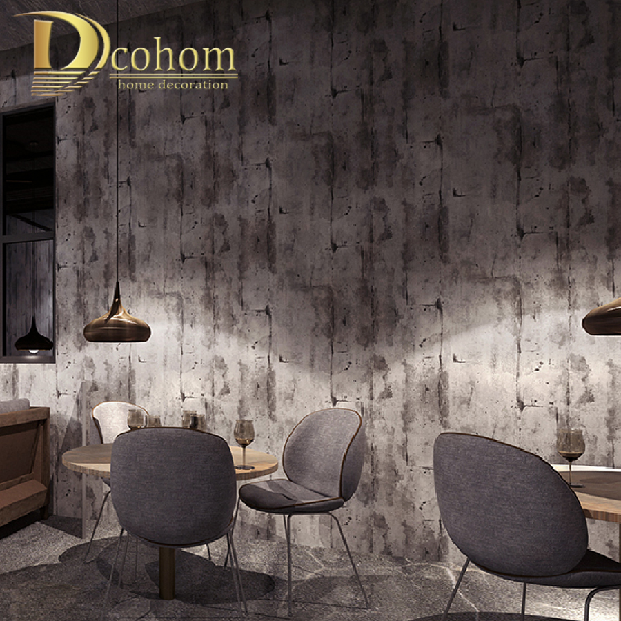 Retro Nostalgic Cement Wall Grey PVC/Vinyl Wallpaper Living Room Bar Restaurant Cafe Industrial Wind Wallpaper Papel De Parede