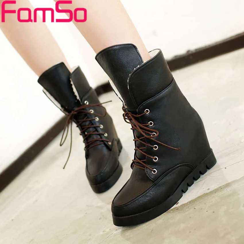 Plus Size34 43 2016 New Fashion font b Women b font martin Boots Wedges Pumps high