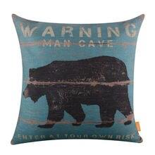 LINKWELL 18x18 Retro Blue Wood Look Slat Bear Burlap Cushion Cover Throw Pillowcase Warning for Man