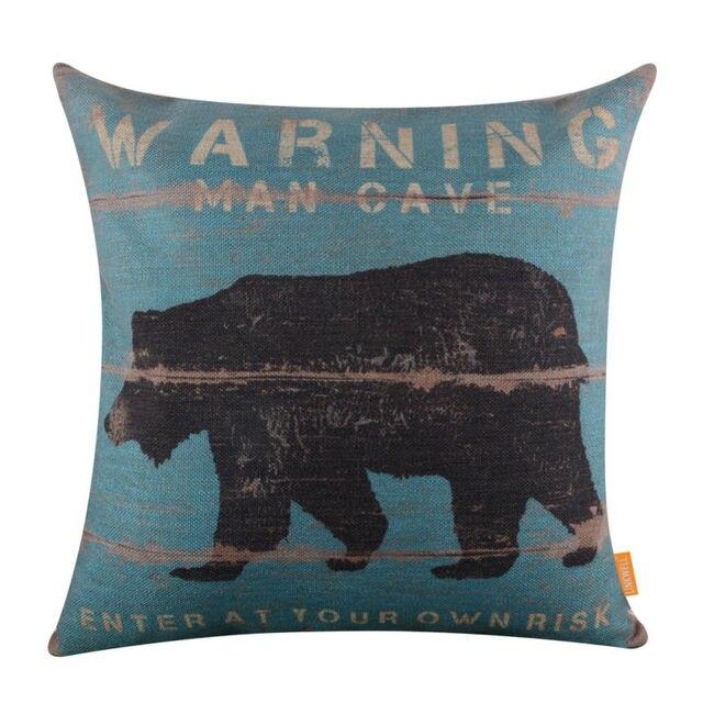 Man Cave Bear Cushion Cover