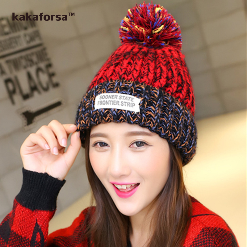 Women Winter Warm Wool Pompom Hat Fashion Patchwork Beanie for Girls Casual All-match Thickened Knitted Cap Free Size knitted skullies cap the new winter all match thickened wool hat knitted cap children cap mz081