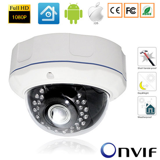 1080P Network IR Outdoor Vandalproof Security CCTV IP Camera 2.8mm Lens P2P Plug&Play Dome Camera PC&Mobile Phone View Onvif freeship 4x motorized zoom lens full 2mp ip dome camera pan network p2p onvif 2 4 cctv outdoor security camera ir night vision