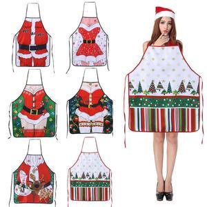 Image 1 - عيد الميلاد مآزر المطبخ للمرأة ديكور عيد الميلاد مآزر للكبار النساء الرجال عشاء حفلة مريلة مطبخ اكسسوارات الخبز