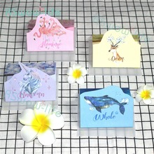 7pcs Whale Unicorn Flamingo Beautiful Card Cute Dreamy Greeting Paper with Envelope Festive Party Supplies