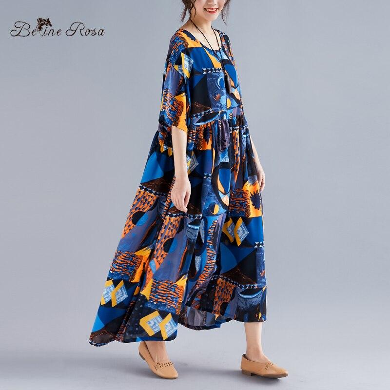 BelineRosa European Fashion Boho Dress 2019 Summer Style Short Sleeve Large Size Dress Fit XL,XXL,3XL,4XL,5XL TYW00979