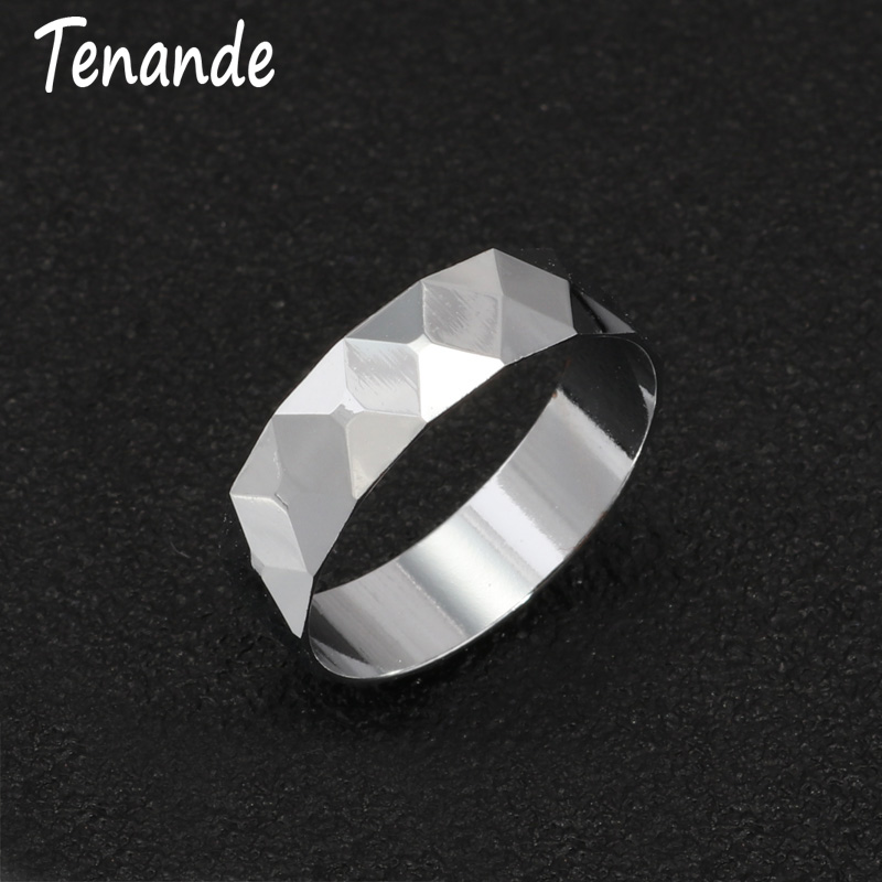 Tenande New Fashion Punk Silver Color Rhombus Rings for Women Men Wedding & Engagement Ring Bands Jewelry Couple Rings