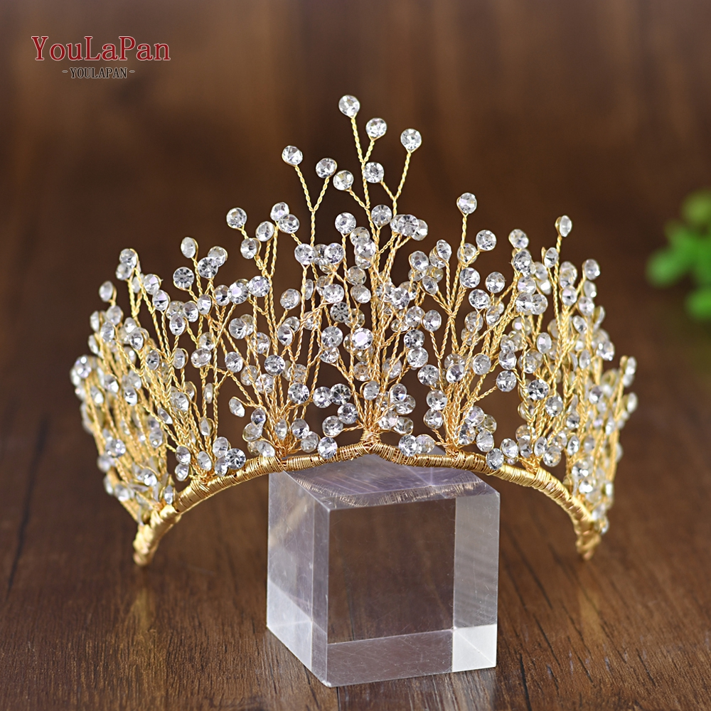 Купить с кэшбэком YouLaPan HP193-G little wedding crown children's headband high quality bridal headband Gold bridal headband for women
