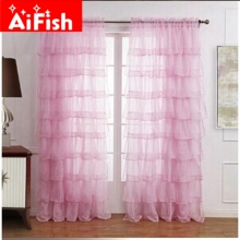 European Sweet Lotus Leaf White Green Yellow and Pink Curtains For Princess Room Tulle Panels Curtains For Living Room DY027-20