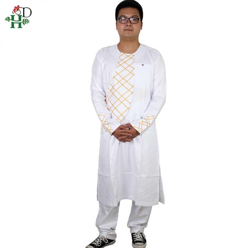 H & D 2019 春夏アフリカ服アフリカ男性 dashiki 服男性メンズトップパンツ衣装スーツ 2 2 ピースセット刺繍