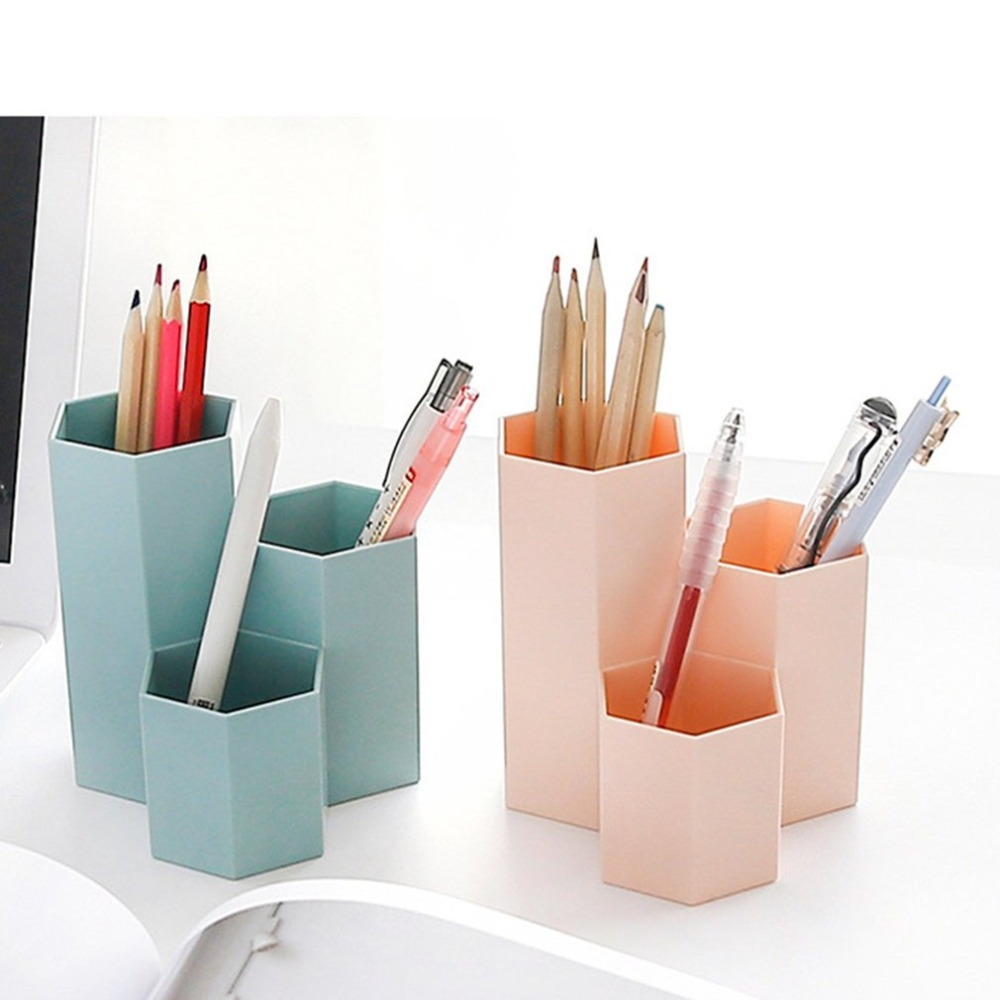 Pen Container Desktop Storage Box Home Office Organizer Box Makeup Cosmetic Holder Case Jewelry Display Rack