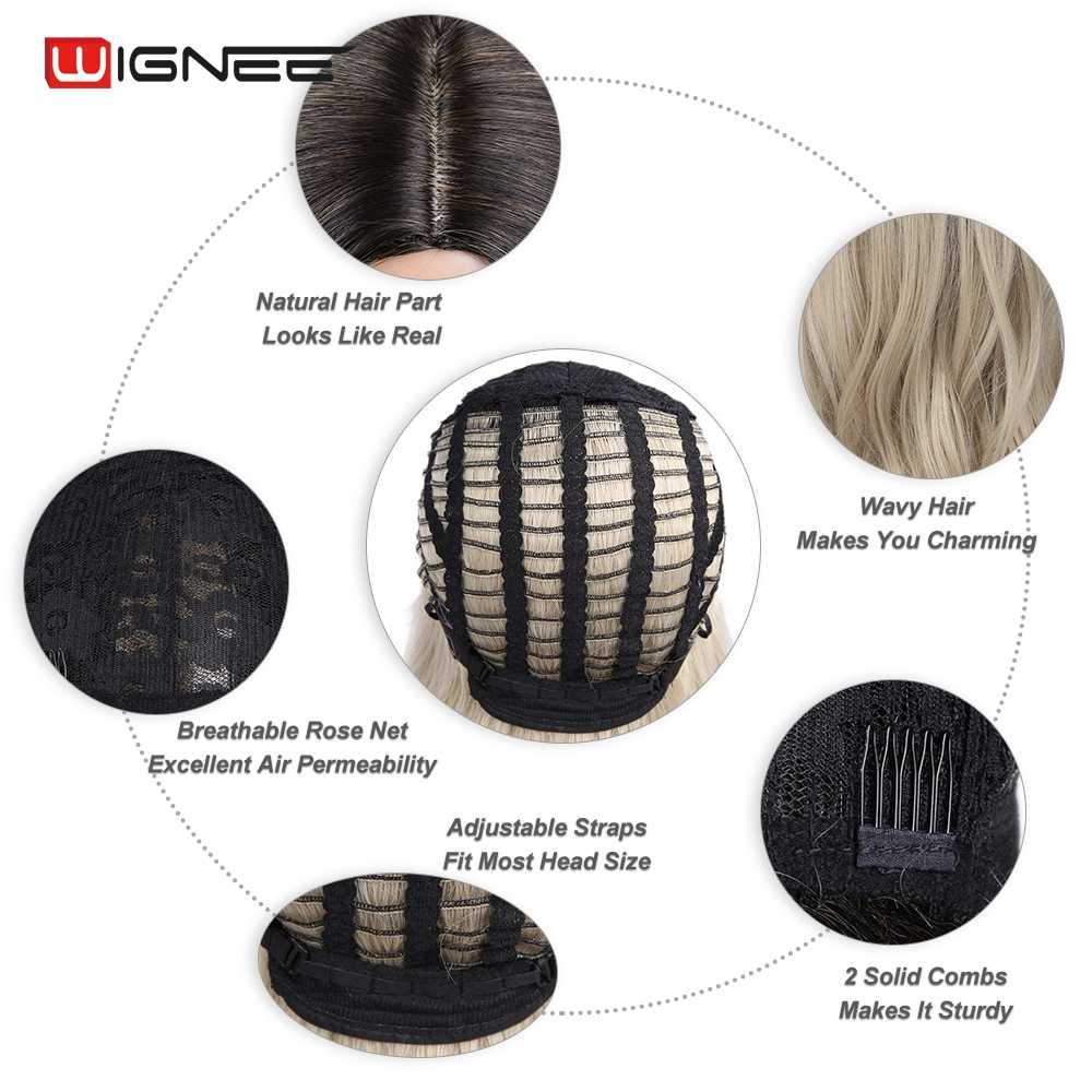 Peruca sintética ondulada longa do cabelo de wignee para a parte média de alta densidade ombre marrom/loira/rosa/roxo/cinza natural peruca de cabelo macio