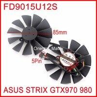 Free Shipping 2pcs/Lot FD9015U12S 85mm 28x28x28x28mm 12V 0.55A 5Pins For Asus Strix GTX970 GTX980 Graphics Card Fan